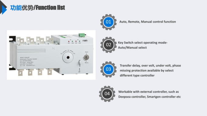 Motorized Changeover Generator Switch Box 1600A With Low Power Consumption